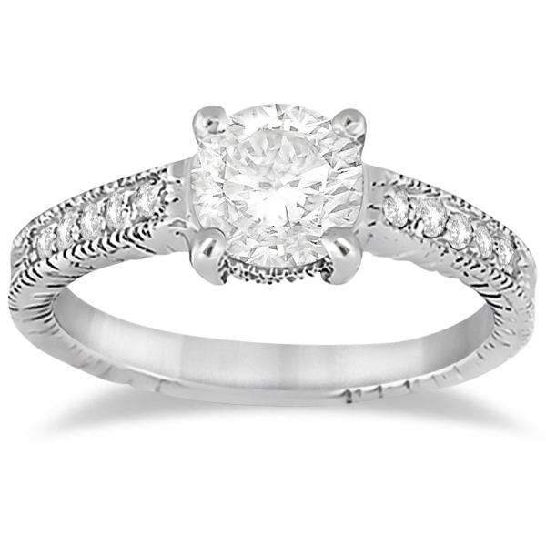 Antique Diamond Vintage Engagement Ring Setting Palladium (0.20ct)