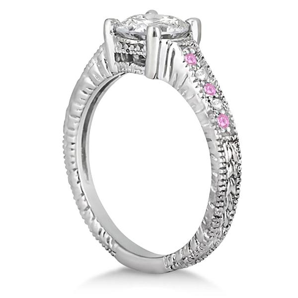 Vintage Pink Sapphire & Diamond Engagement Ring 14k White Gold 0.31ct
