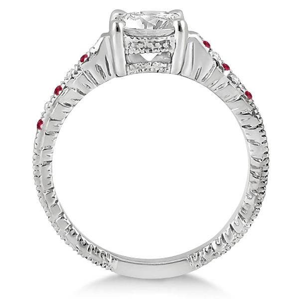 Vintage Ruby & Diamond Engagement Ring Palladium 0.31ct
