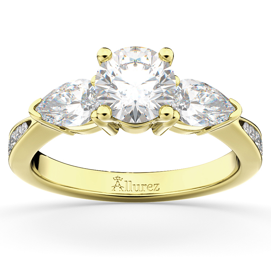 Three Stone Pear Cut Diamond Engagement Ring 14k Yellow Gold (0.51ct)