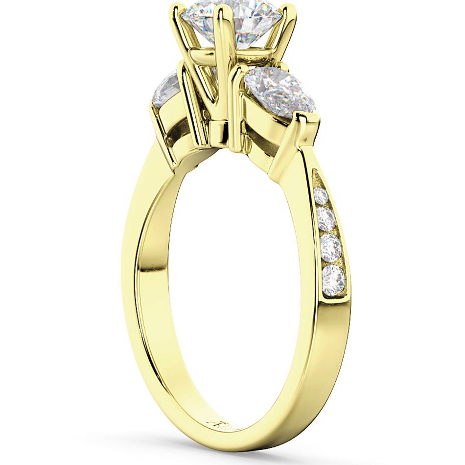 Three Stone Pear Cut Diamond Engagement Ring 14k Yellow Gold (0.51ct)