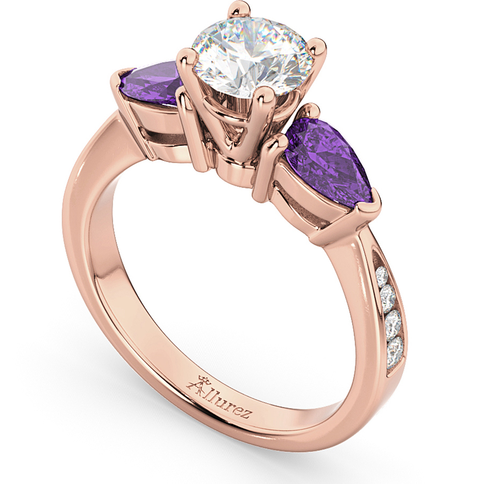 diamond pear amethyst engagement ring 14k rose gold 0. Black Bedroom Furniture Sets. Home Design Ideas