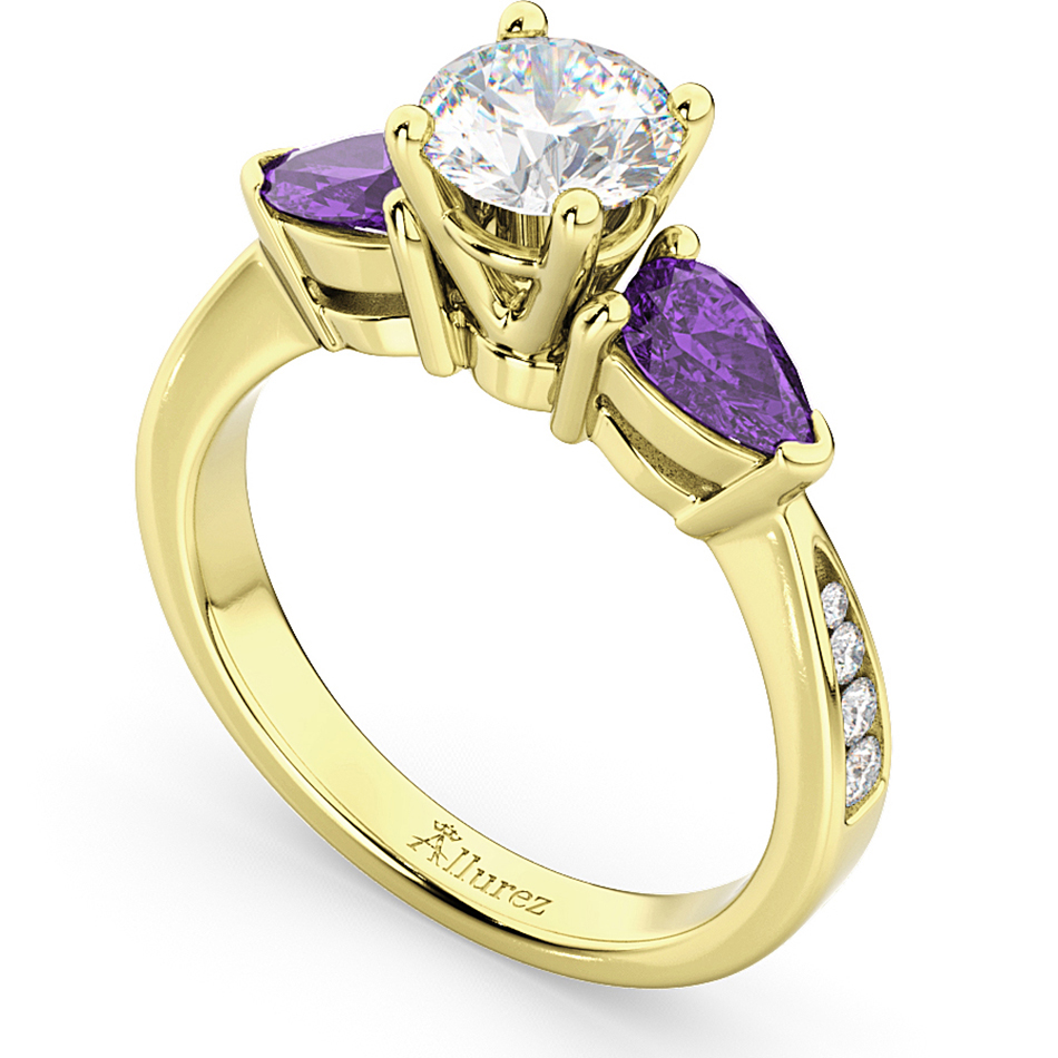 Diamond & Pear Amethyst Engagement Ring 14k Yellow Gold (0.79ct)
