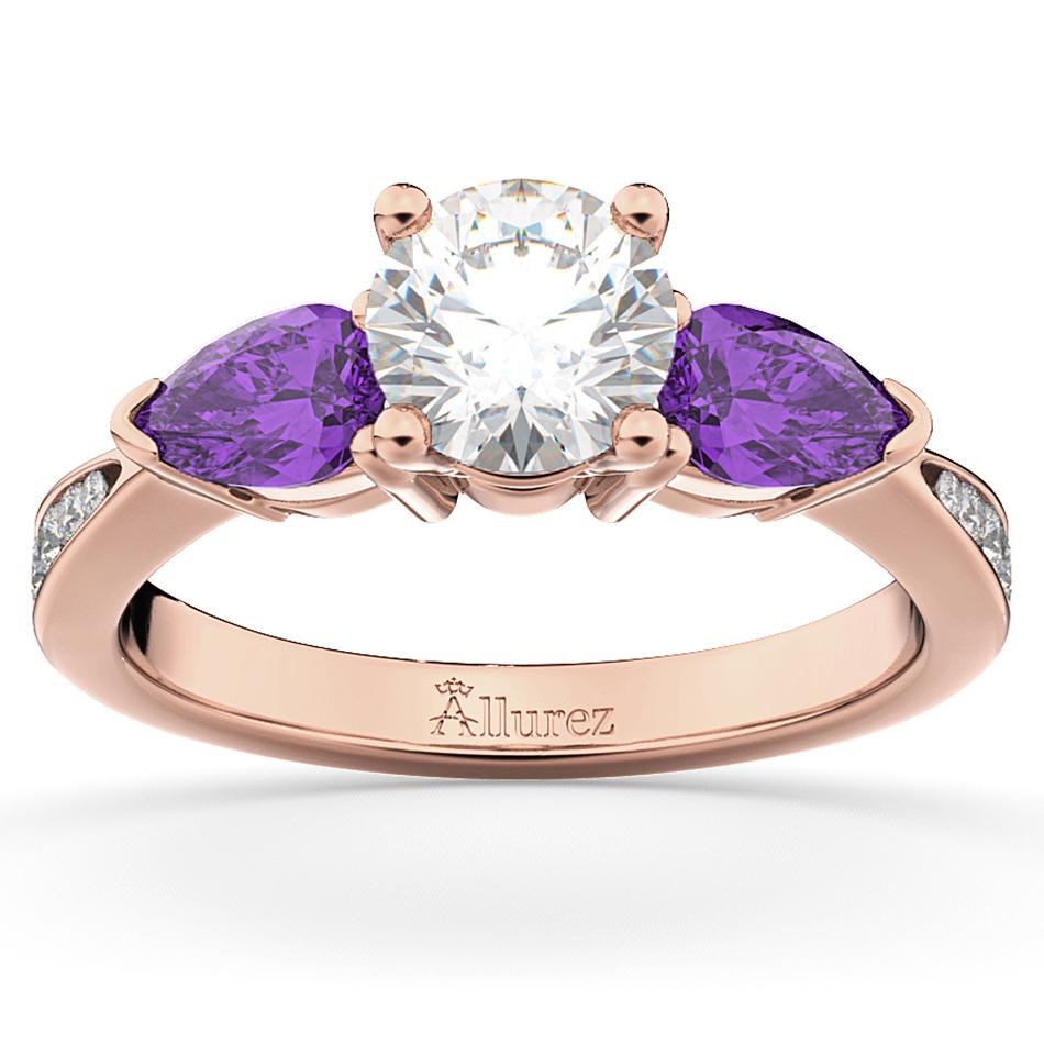 Diamond & Pear Amethyst Engagement Ring 18k Rose Gold (0.79ct)