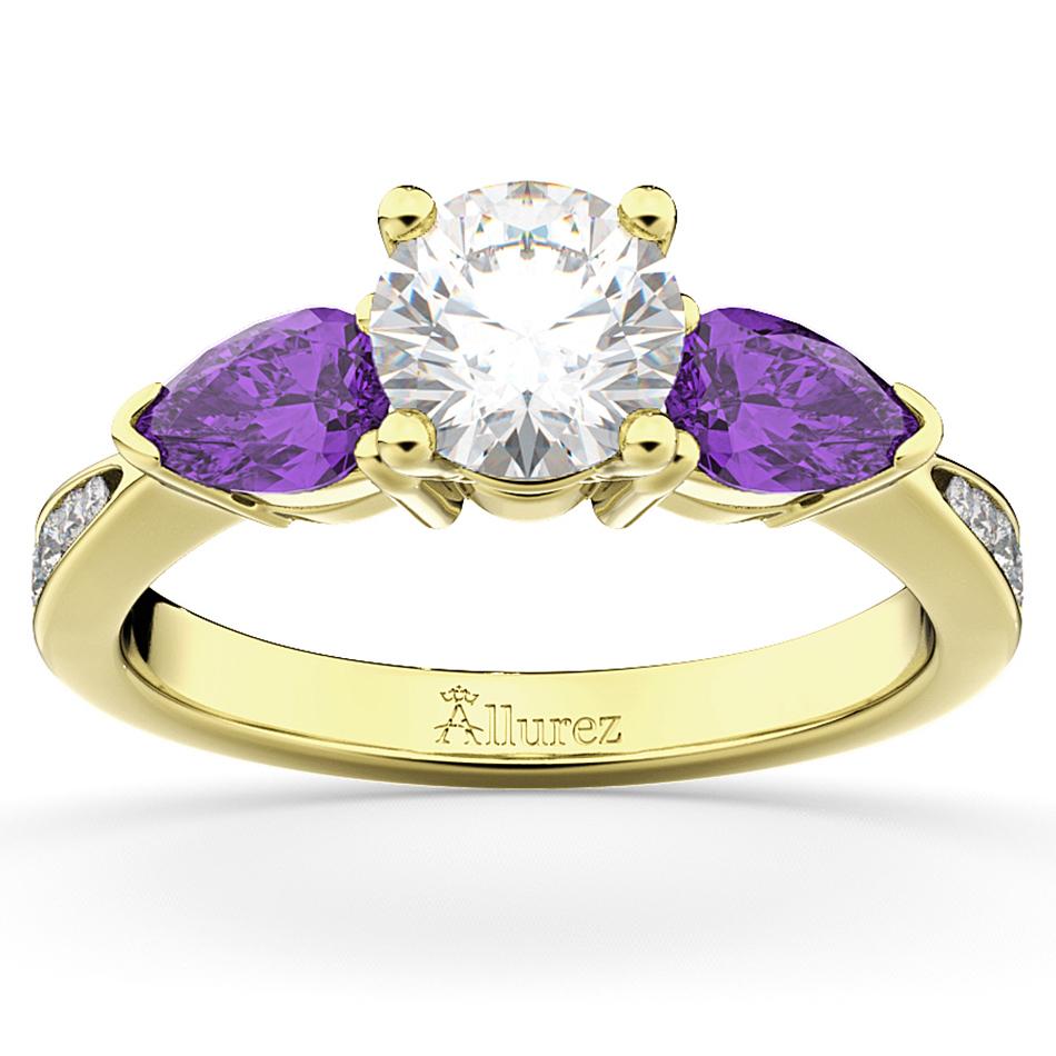 Diamond & Pear Amethyst Engagement Ring 18k Yellow Gold (0.79ct)