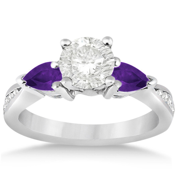 Diamond & Pear Amethyst Engagement Ring Palladium (0.79ct)
