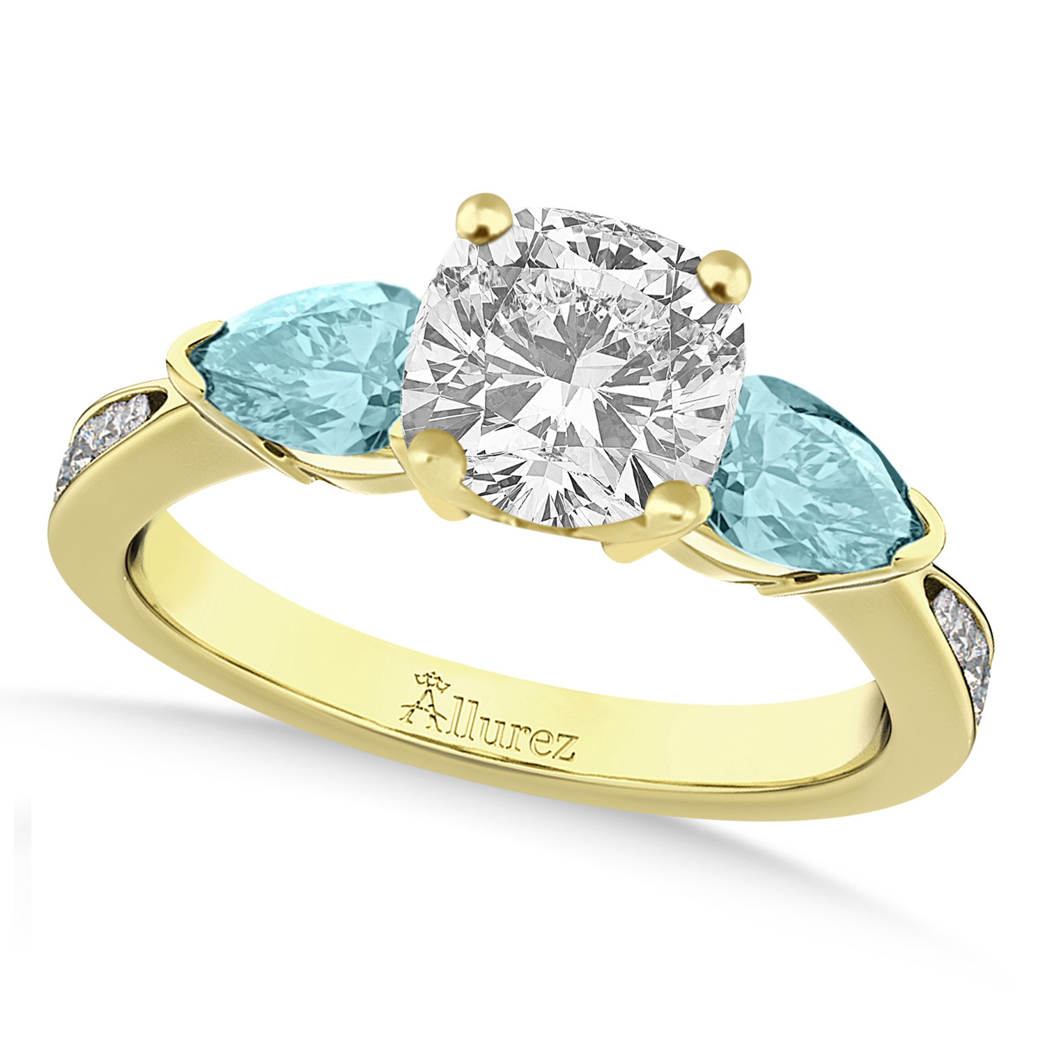 Cushion Diamond & Pear Aquamarine Engagement Ring 14k Yellow Gold (1.29ct)