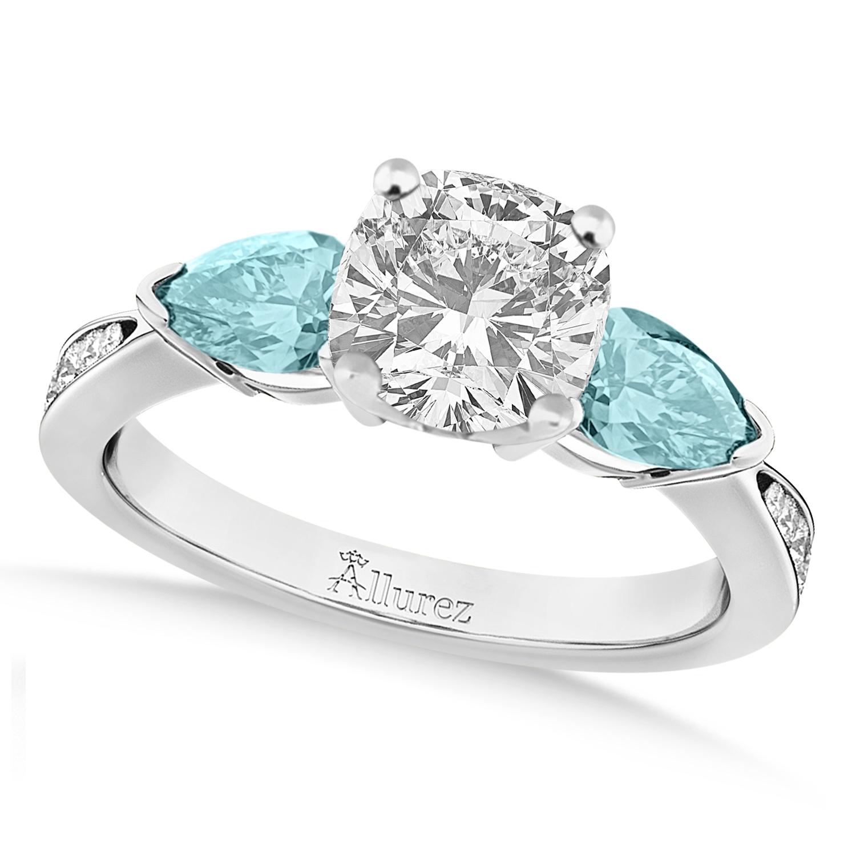 Cushion Diamond & Pear Aquamarine Engagement Ring 18k White Gold (1.29ct)