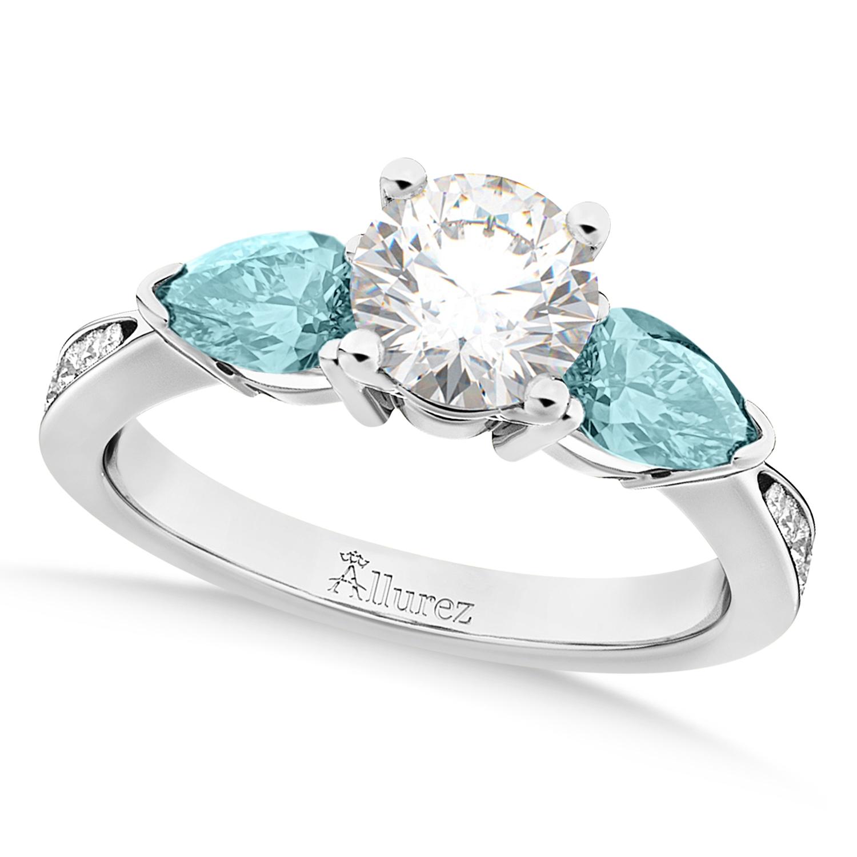 Round Diamond & Pear Aquamarine Engagement Ring 14k White Gold (1.79ct)