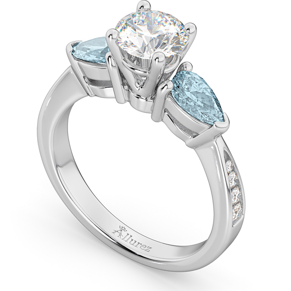 Diamond & Pear Aquamarine Engagement Ring 14k White Gold (0.79ct)