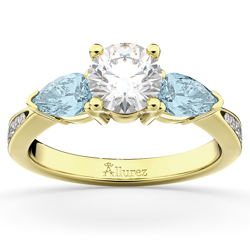 Diamond & Pear Aquamarine Engagement Ring 18k Yellow Gold (0.79ct)