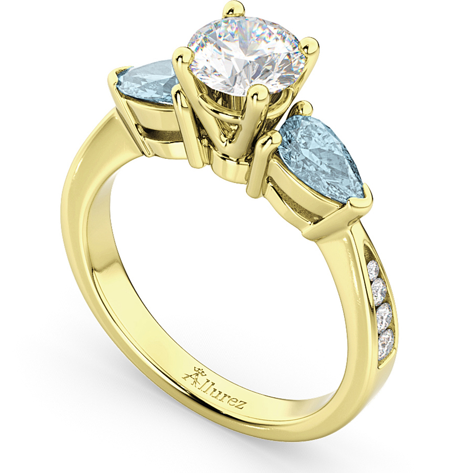 pear aquamarine engagement ring 18k yellow gold