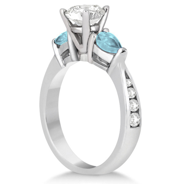 Diamond & Pear Aquamarine Engagement Ring Platinum (0.79ct)
