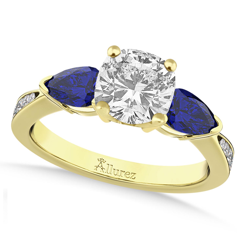 Cushion Diamond & Pear Blue Sapphire Engagement Ring 14k Yellow Gold (1.29ct)