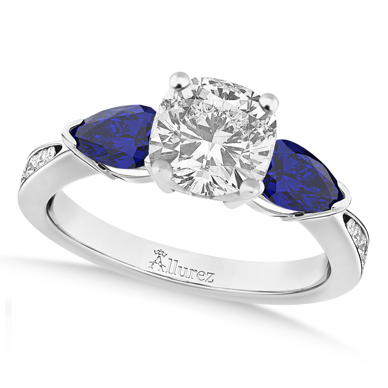 Cushion Diamond & Pear Blue Sapphire Engagement Ring in Palladium (1.29ct)