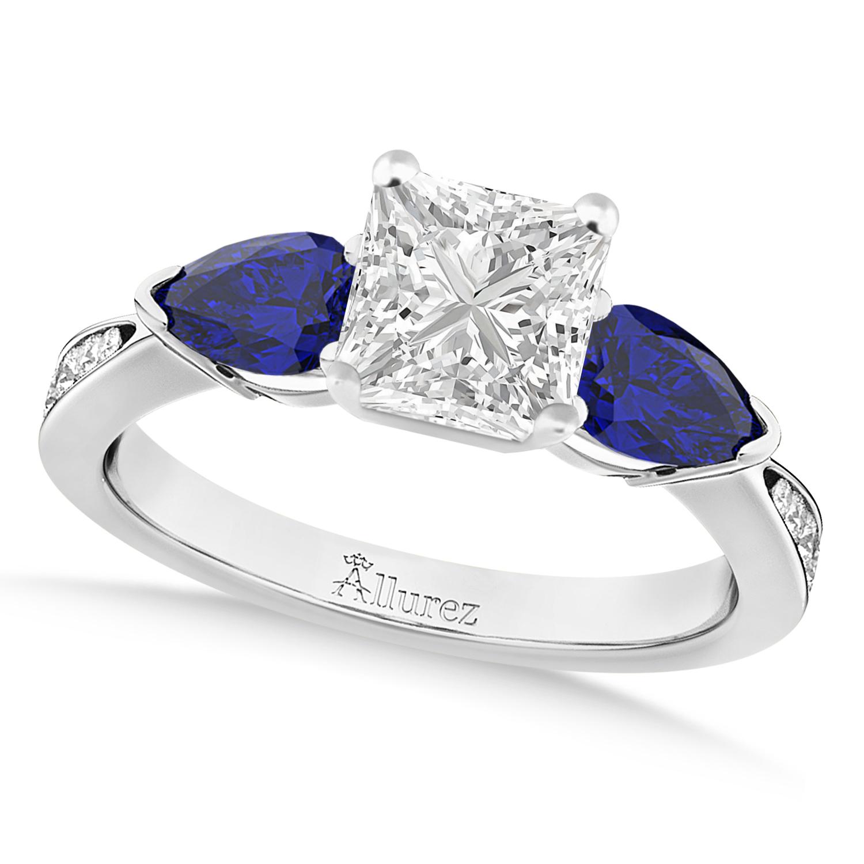 Princess Diamond & Pear Blue Sapphire Engagement Ring 14k White Gold (1.29ct)