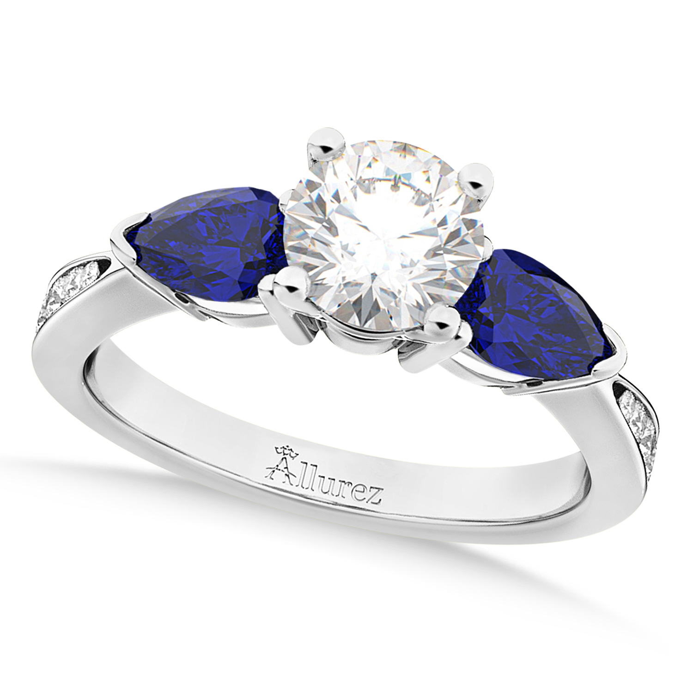 Round Diamond & Pear Blue Sapphire Engagement Ring 18k White Gold (1.29ct)