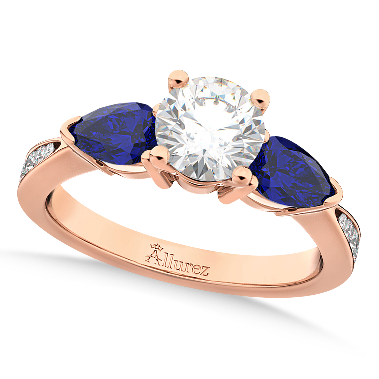 Round Diamond & Pear Blue Sapphire Engagement Ring 18k Rose Gold (1.79ct)