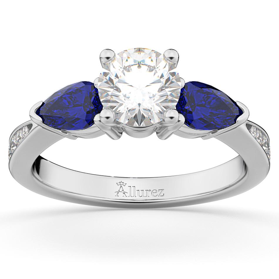 diamond u0026 pear blue sapphire engagement ring 14k white gold
