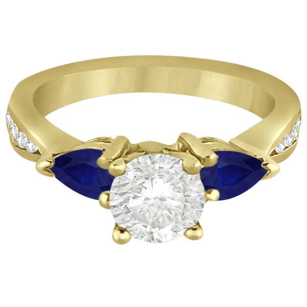 Diamond & Pear Blue Sapphire Engagement Ring 14k Yellow Gold (0.79ct)