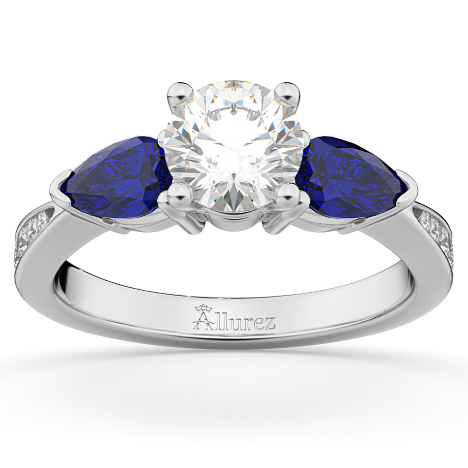 Diamond & Pear Blue Sapphire Engagement Ring 18k White Gold (0.79ct)