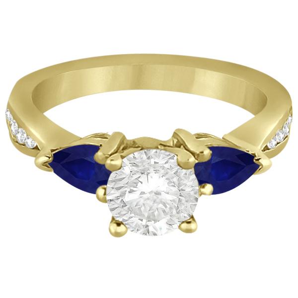 Diamond & Pear Blue Sapphire Engagement Ring 18k Yellow Gold (0.79ct)