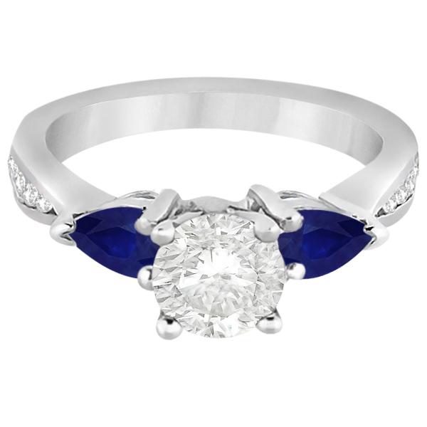 Diamond & Pear Blue Sapphire Engagement Ring Palladium (0.79ct)