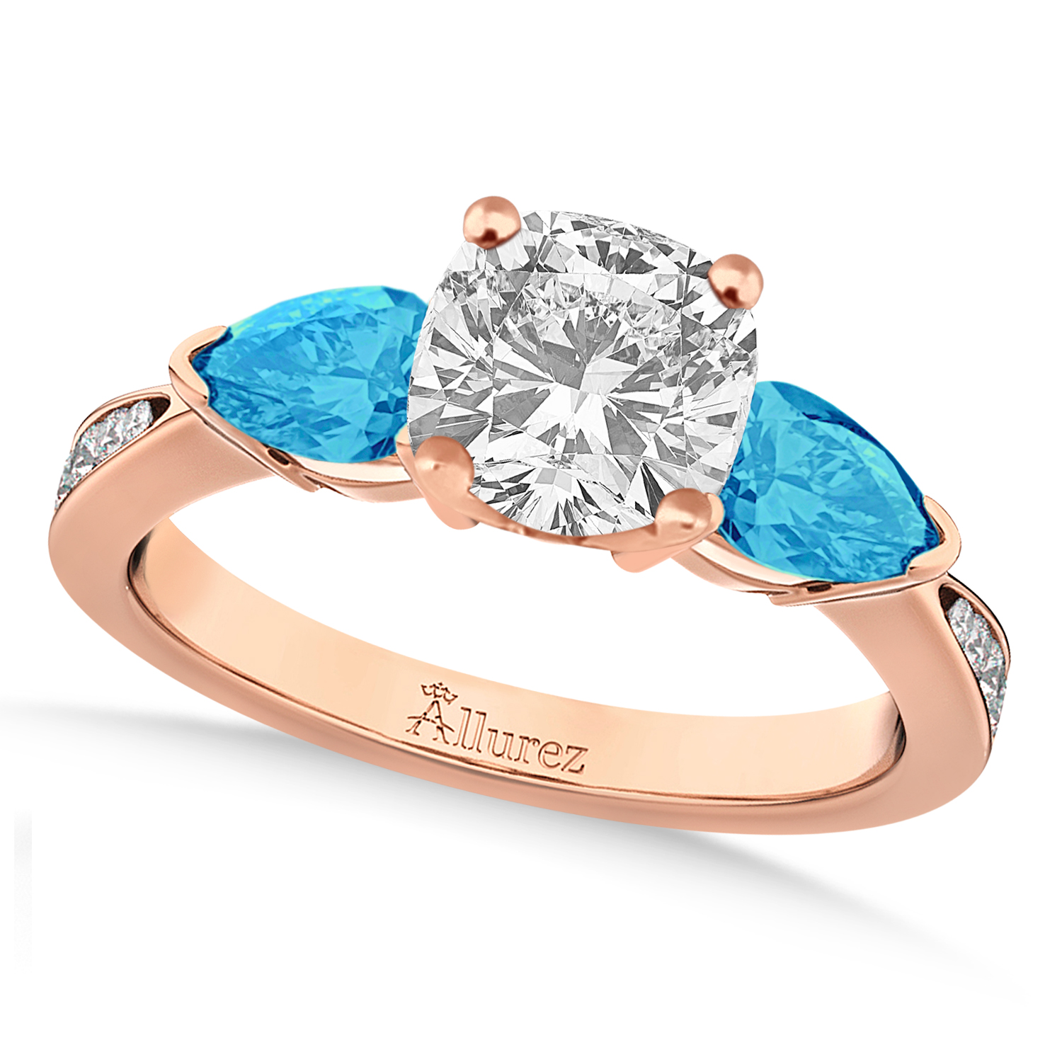 Cushion Diamond & Pear Blue Topaz Engagement Ring 14k Rose Gold (1.29ct)