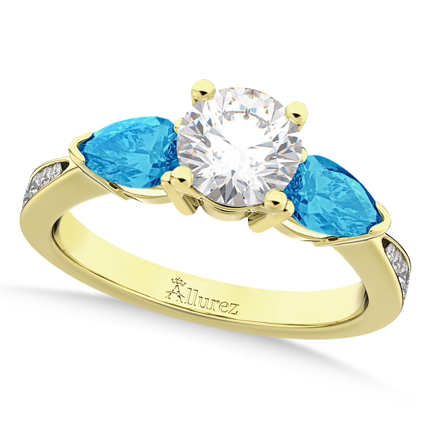 Round Diamond & Pear Blue Topaz Engagement Ring 18k Yellow Gold (1.79ct)