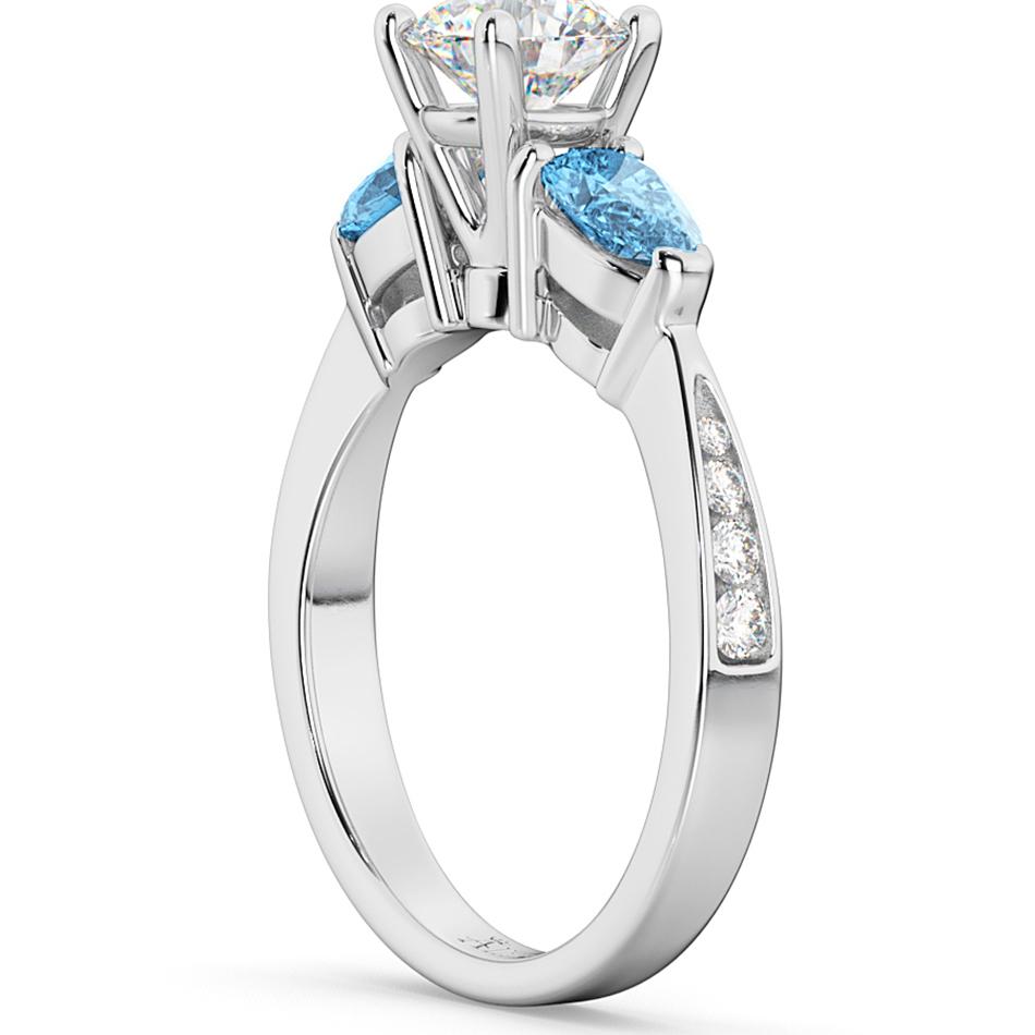 Diamond & Pear Blue Topaz Engagement Ring 14k White Gold (0.79ct)