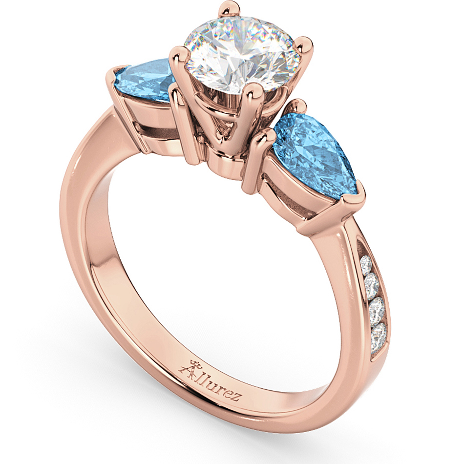 diamond pear blue topaz engagement ring 18k rose gold 0. Black Bedroom Furniture Sets. Home Design Ideas