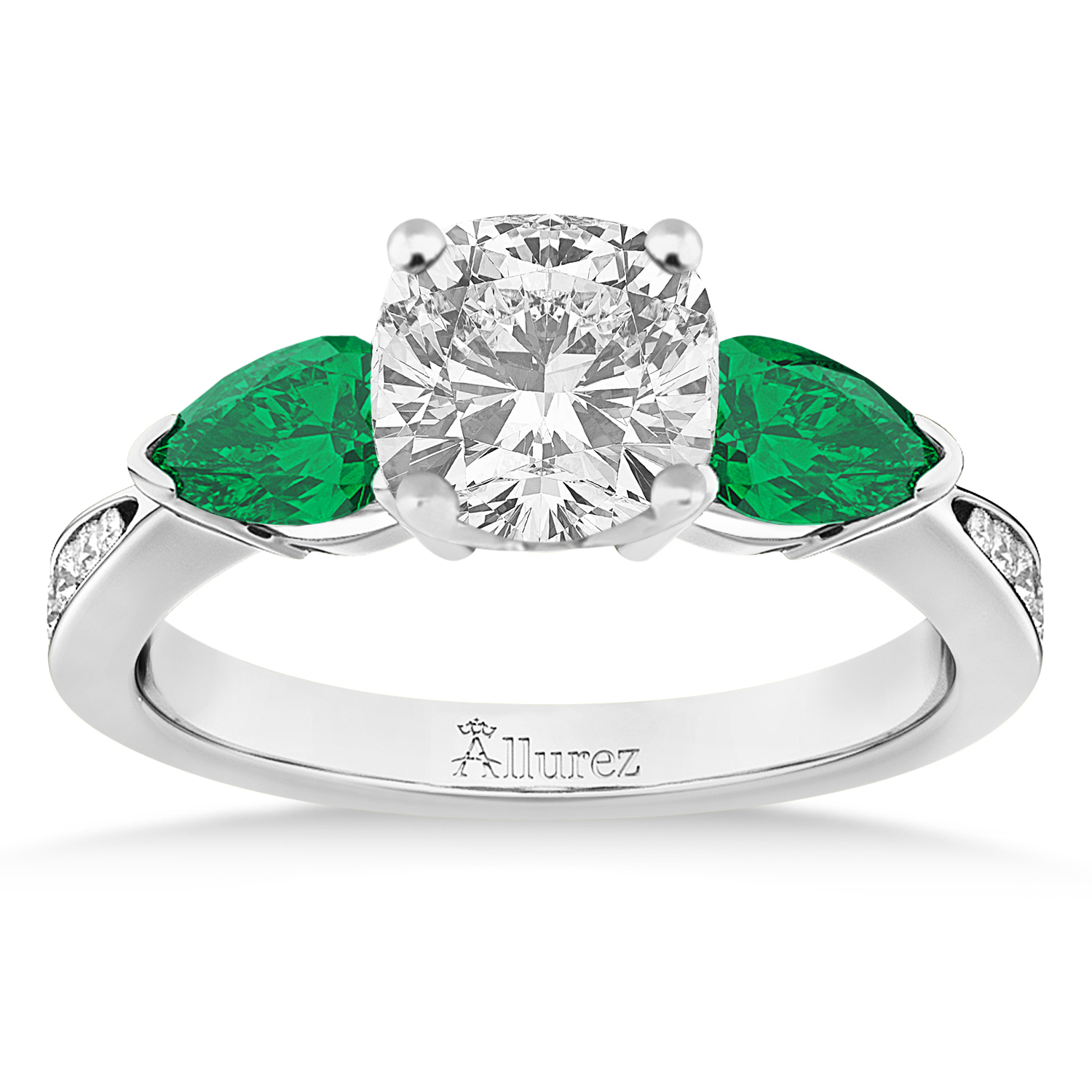 Cushion Diamond & Pear Green Emerald Engagement Ring 18k White Gold (1.29ct)
