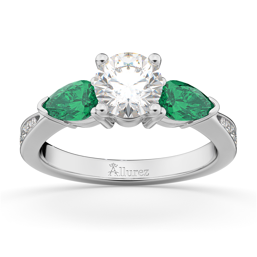 Round Diamond & Pear Green Emerald Engagement Ring 14k White Gold (1.79ct)