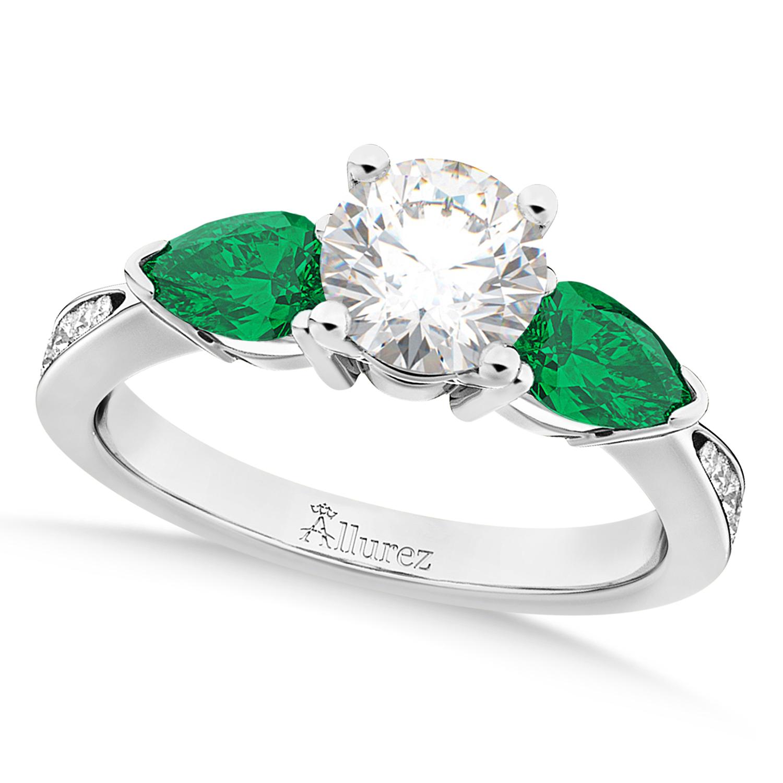 Round Diamond & Pear Green Emerald Engagement Ring in Palladium (1.79ct)