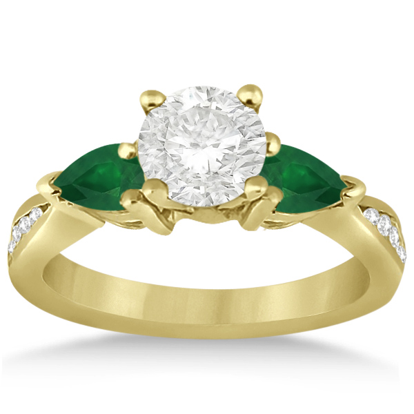 Diamond & Pear Green Emerald Engagement Ring 18k Yellow Gold (0.61ct)