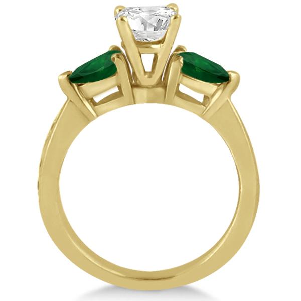 Diamond & Pear Green Emerald Engagement Ring 18k Yellow Gold (0.61ct)