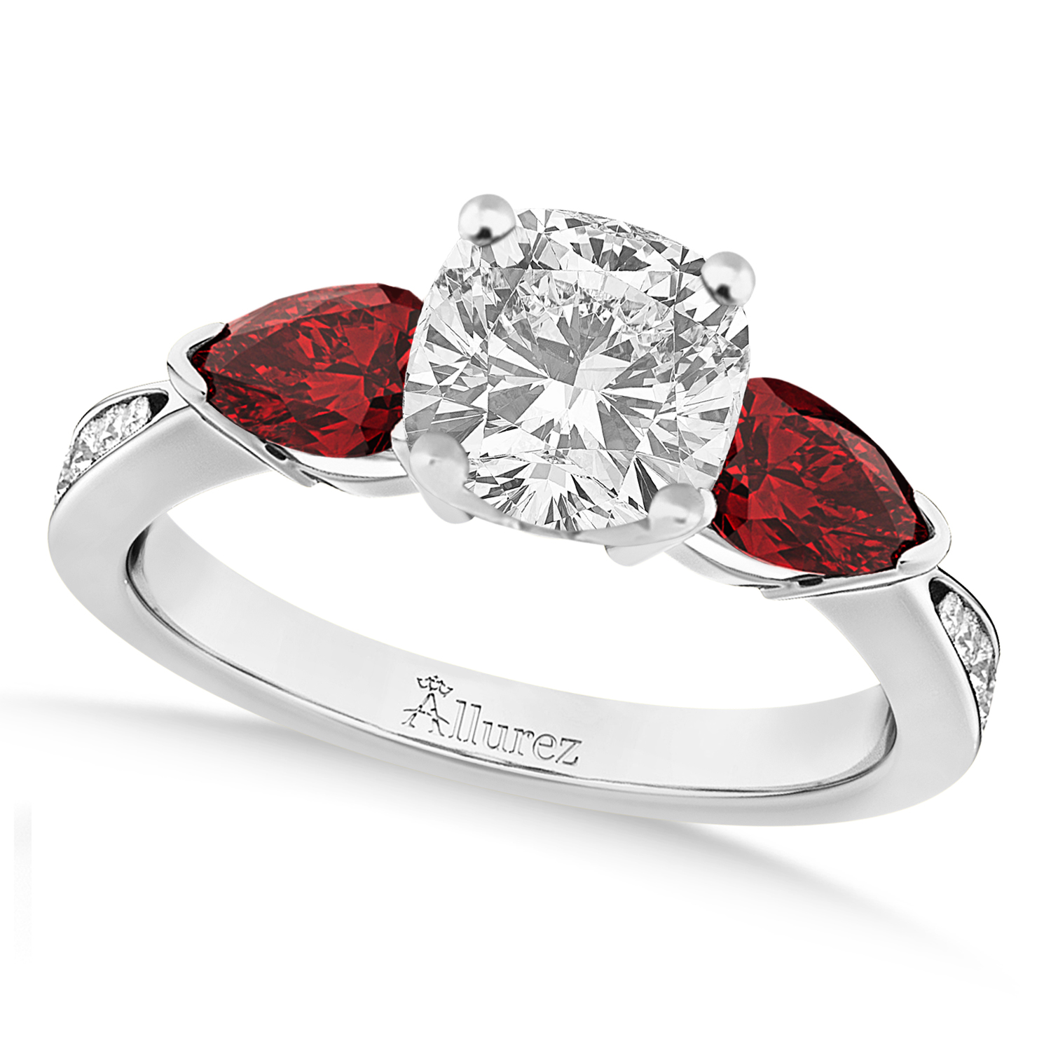 Cushion Diamond & Pear Garnet Engagement Ring in Palladium (1.29ct)