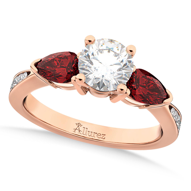 Round Diamond & Pear Garnet Engagement Ring 18k Rose Gold (1.79ct)
