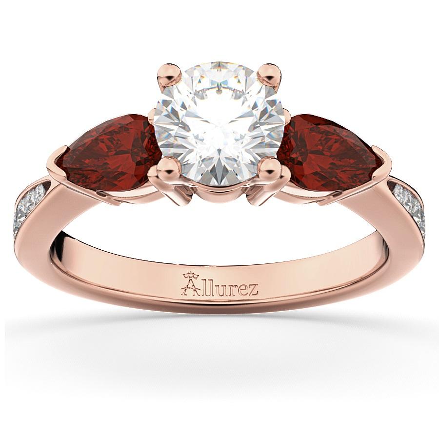 Diamond & Pear Garnet Engagement Ring 14k Rose Gold 0 79ct Allurez