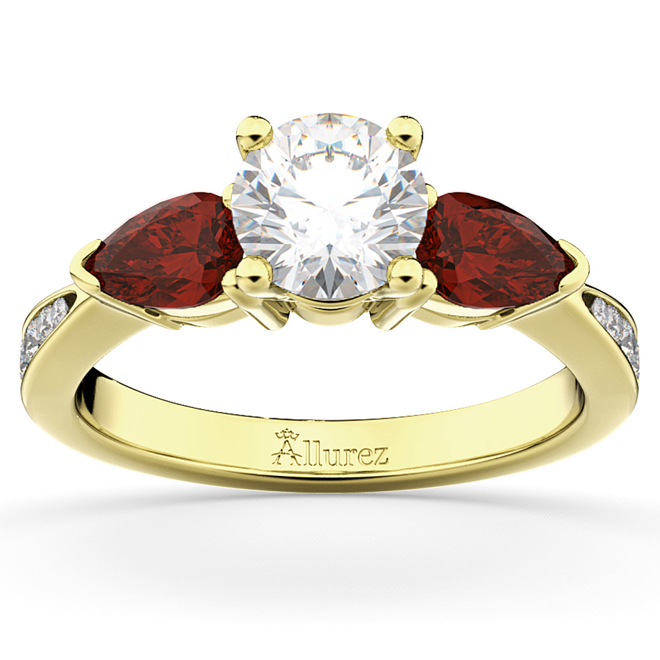 Diamond & Pear Garnet Engagement Ring 18k Yellow Gold (0.79ct)