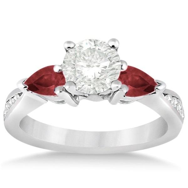 Diamond & Pear Garnet Engagement Ring Platinum (0.79ct)