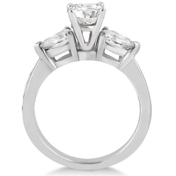 Three Stone Pear Cut Diamond Engagement Ring Palladium (0.51ct)