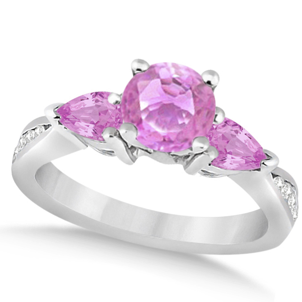 Diamond & Pear Pink Sapphire Engagement Ring 14k White Gold 1.79ct ...
