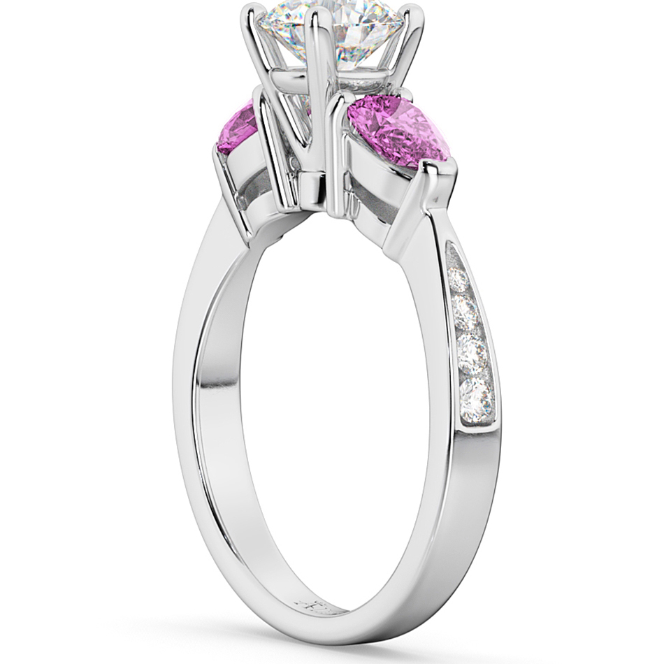 Diamond & Pear Pink Sapphire Engagement Ring 14k White Gold (0.79ct)