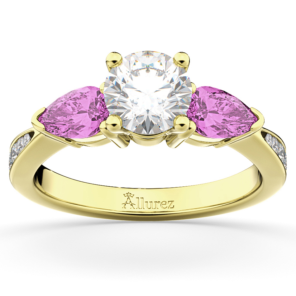 Diamond & Pear Pink Sapphire Engagement Ring 14k Yellow Gold (0.79ct)