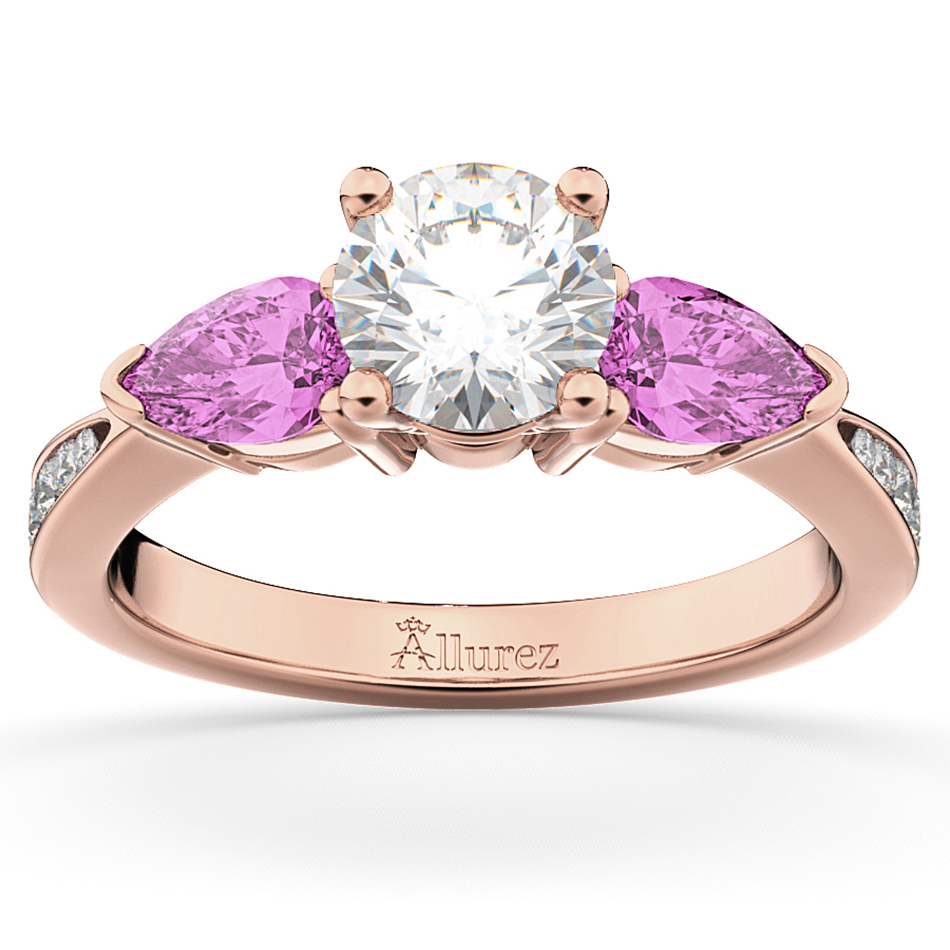 Diamond & Pear Pink Sapphire Engagement Ring 18k Rose Gold ...