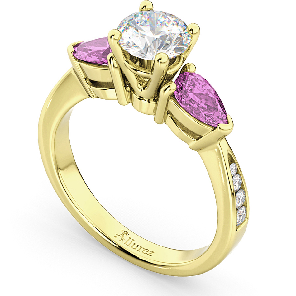 Diamond & Pear Pink Sapphire Engagement Ring 18k Yellow Gold (0.79ct)
