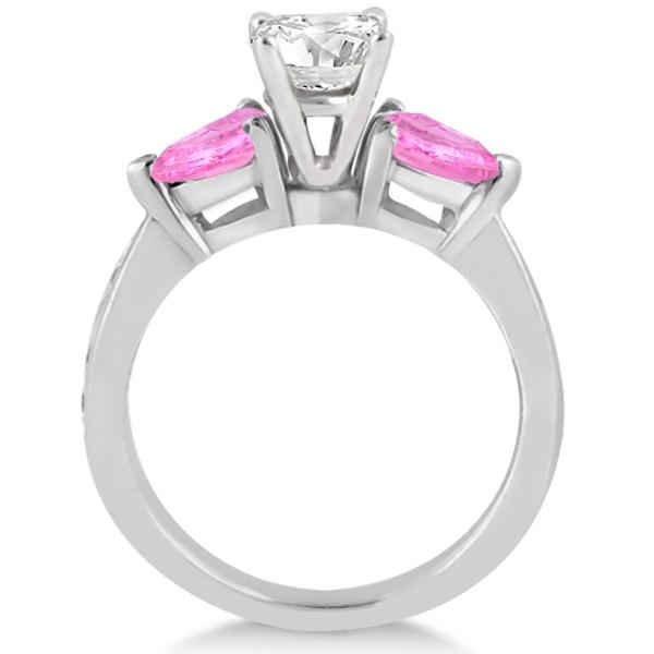 Diamond & Pear Pink Sapphire Engagement Ring Platinum (0.79ct)