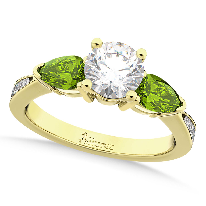 Round Diamond & Pear Peridot Engagement Ring 14k Yellow Gold (1.79ct)