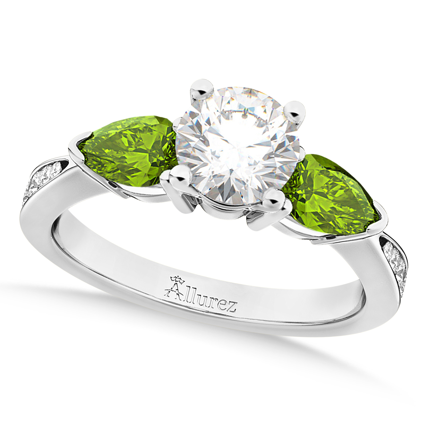 Round Diamond & Pear Peridot Engagement Ring 18k White Gold (1.79ct)